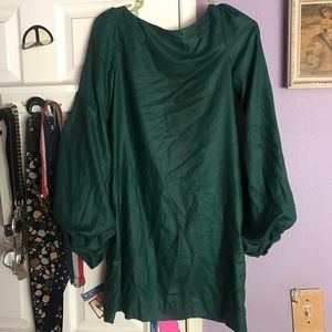ELIZABETH & JAMES Emerald Green puff sleeve dress
